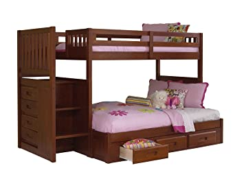 Discovery World Furniture Mission Staircase Bed with 3 Drawer Storage, Twin over Full, Merlot
