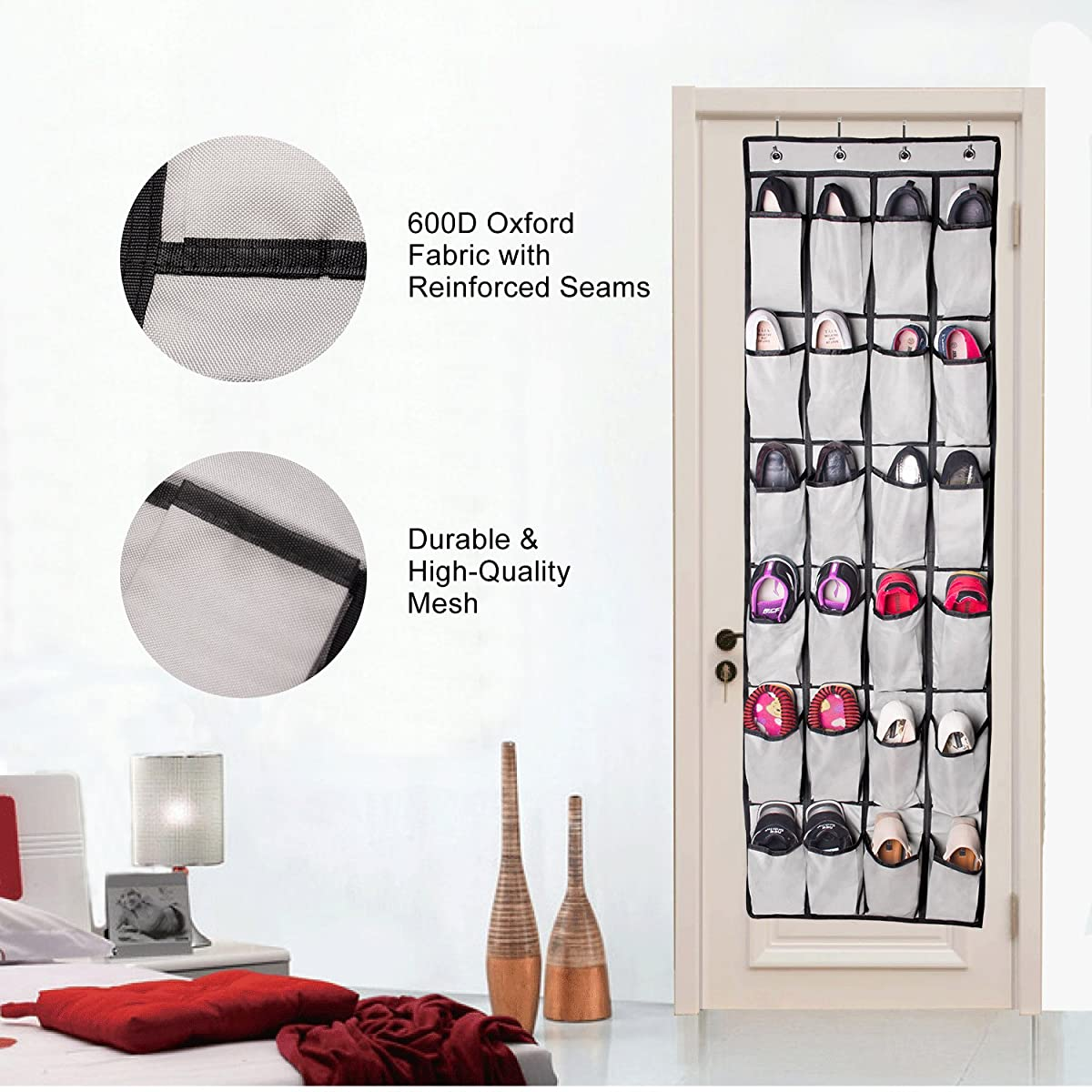 Famlove Shoe Rack Over The Door Shoes Organizer, 24 Pocket Heavy Duty 600D Oxford Fabric Shoe Hanging Storage Organizer for Bedroom, Baby Room, Kitchen, Office (Grey)