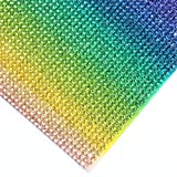 240X400mm Crystal Rhinestone Trim Hotfix Strass Crystal Mesh Banding Bridal Beaded Applique in Sheet for Dresses with 2mm Rhinestones (Rainbow-1) (Color: Rainbow-1)