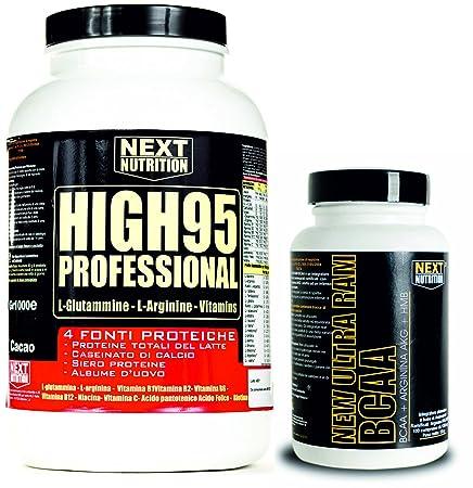 Kit besteht aus 90 % Protein 4 Proteinquellen (Total Protein Milch - Kalziumkaseinat , - Protein Whey ultrafiltrierte und konzentriert - Eiweiß) Arginin Glutamin Angereichert mit Vitaminen (1 kg Vanille- Aroma) und BCAA Aminosäuren verzweigt, m