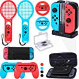Zadii Accessories Bundle Compatible with Nintendo Switch, Accessories Kit with Tennis Racket, Steering Wheel, Joy-con Grip, 4-Channel Charging Dock, Carrying Case and Screen Protector (Color: Red)