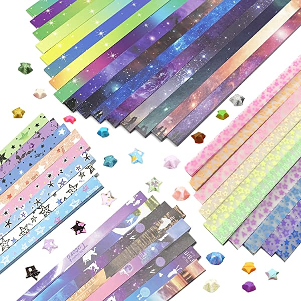 Wartoon Moon Starry Sky Pentagram Origami Stars Paper and Luminous Starry Sky Paper Set, 1880 Sheets (Color: 5)