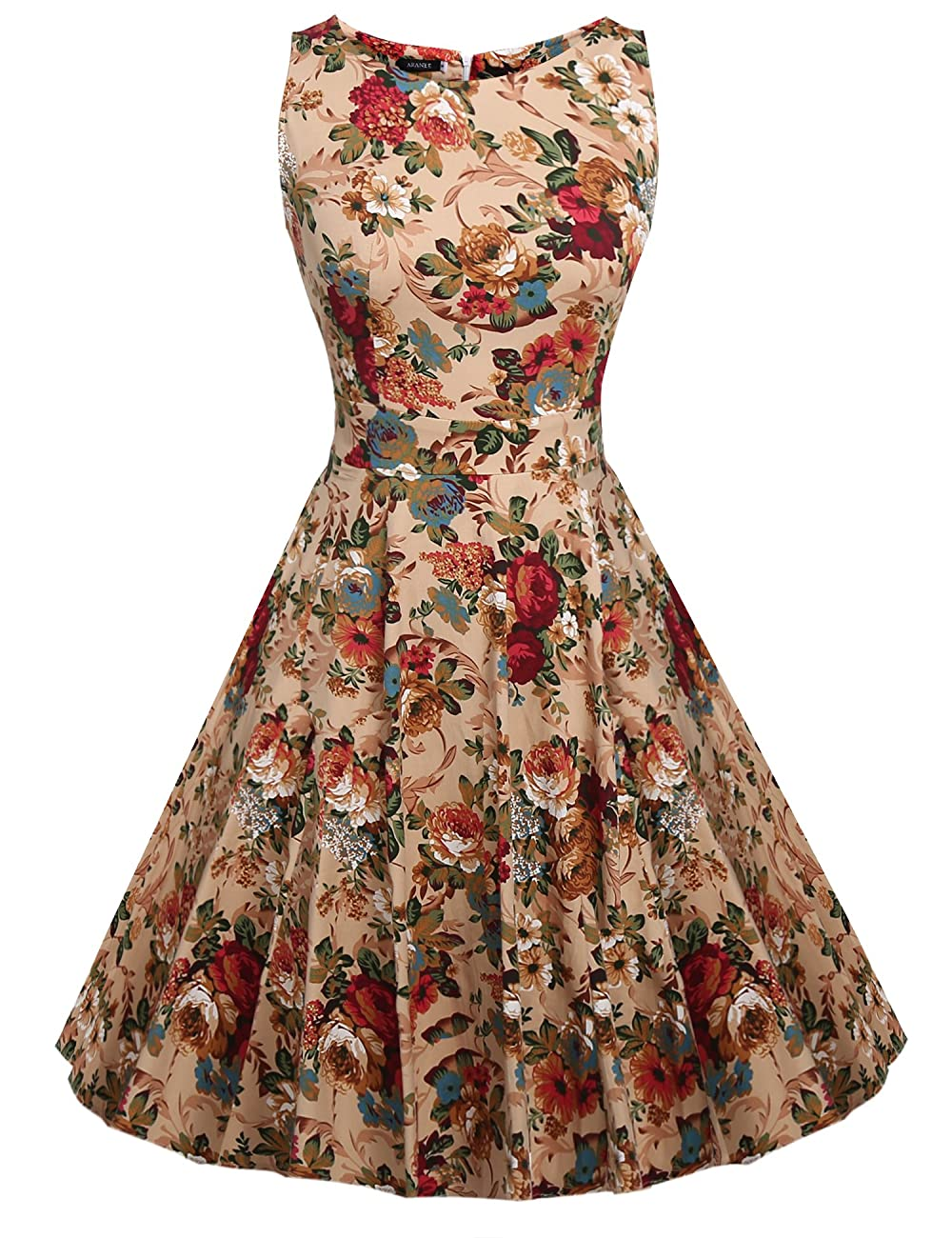 ARANEE Vintage Classy Floral Sleeveless Party Picnic Party Cocktail Dress 0