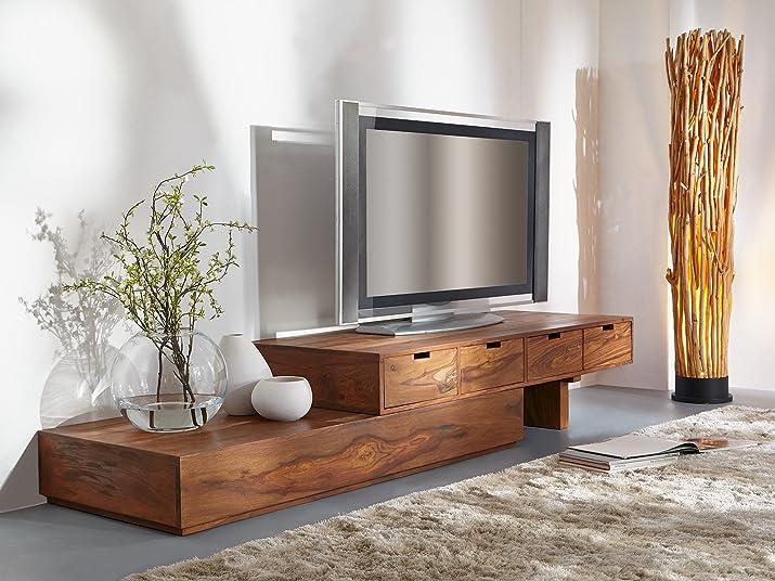 Legno Dekor armadietto TV con 4cassetti, mango naturale, 290x 60x 38cms