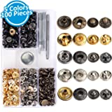 100 Sets Snap Fasteners Kit, 0.47inch Snap Buttons Press Studs with 4 Pieces Fixing Tools for Leather Cloth Jackets, 5 Assorted Colors, Christmas Gift Idea (Color: Gold)