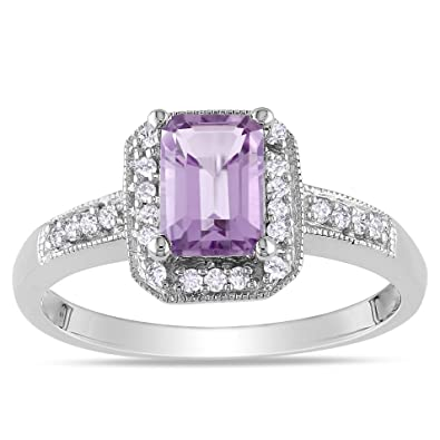 10k White Gold Amethyst and Accent Diamond Ring, (.12 Cttw, GH Color, I1;I2 Clarity)