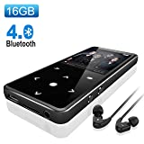 16G Bluetooth 4.0 MP3 Player,Valoin Ultra Slim 2.4 Inch Screen Music Player with FM Radio Voice Recorder Lossless Sound Music Player with Touch Buttons (Color: Black)