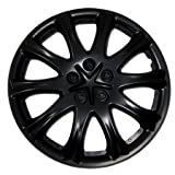 TuningPros WC-15-503-B 15-Inches Pop On Type Improved Hubcaps Wheel Skin Cover Matte Black Set of 4 (Tamaño: 15-Inches)