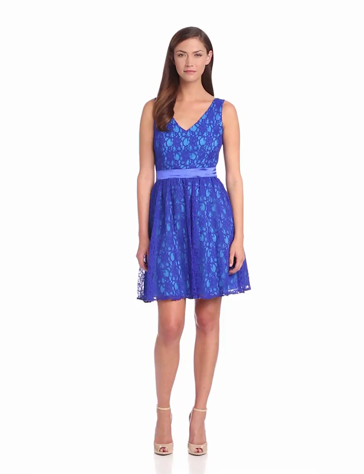 Hailey by Adrianna Papell Womens Fit and Flare Lace Cocktail Dress, Blue/Multi, 2