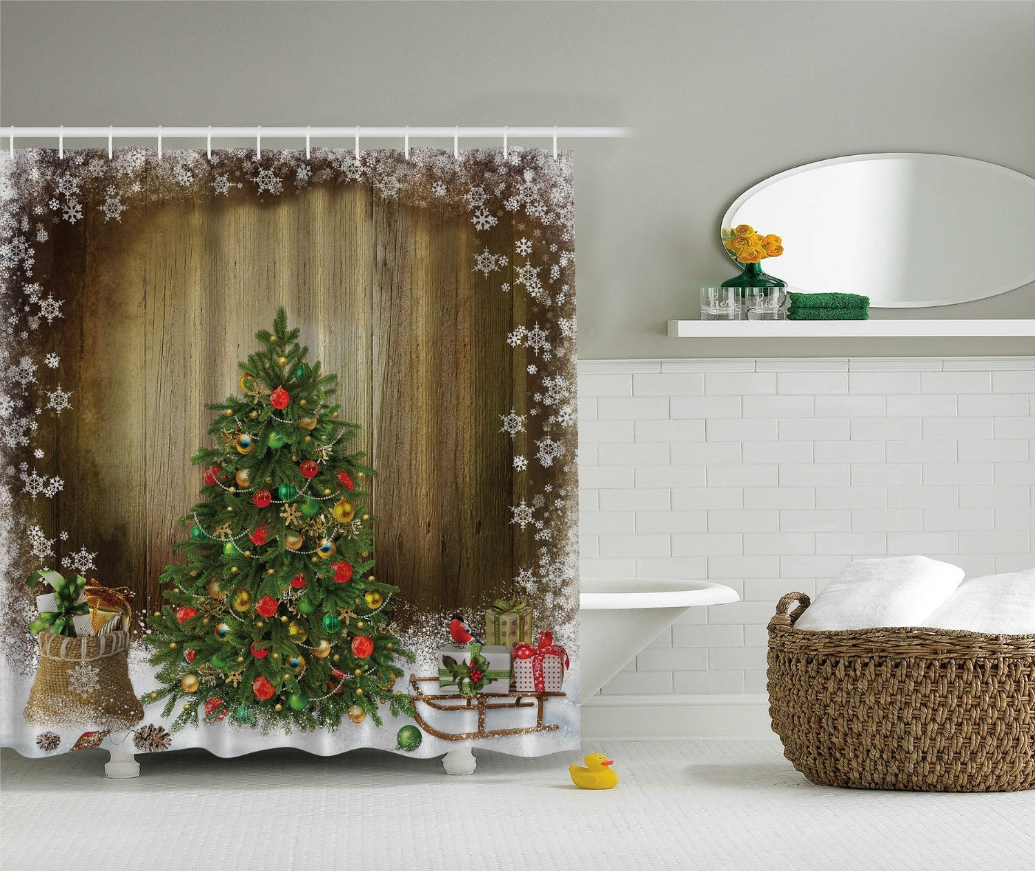 Kitchen Christmas Curtains Amazon Com: Christmas Trees Shower Curtains