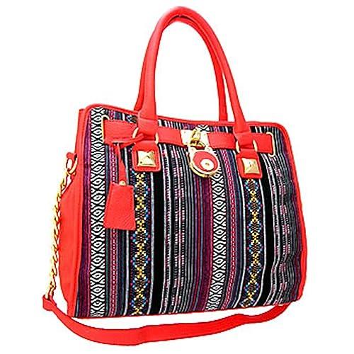 Classy! Aztec Santa Fe Print Chain Shoulder Strap Handbag Purse