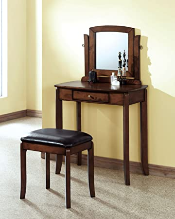 WALNUT SOLID-TOP 2PCS VANITY SET / BROWN LEATHER-LOOK with Chanasya Polish Cloth Bundle