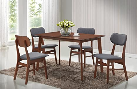 "Roundhill Furniture 5 Piece Sacramento Rectangular Dining Table with Four 20 x 18 x 31.5"" Chairs, Brown"