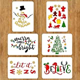 6 PCS Christmas Stencils for Painting on Wood 8.3 X 12 Inches Reusable Floor Tile Stencil for Christmas Decor Fabric Canvas Wall Painting Templates (Color: 6PCS Christmas Stencils 8.3x12 IN)