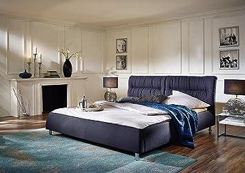 SAM® Exklusives Design Bett MIA 180 x 200 cm in anthrazit aus Stoffbezug mit chromfarbenen Fußen abgestepptes Kopfteil, als Wasserbett verwendbar