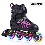 2PM SPORTS Brice Pink Adjustable Illuminating Inline Skates with Full Light Up Wheels, Fun Flashing Roller Skates for Girls - Pink M (Color: Shocking Pink, Tamaño: Medium - Big Kid (2-5 US))