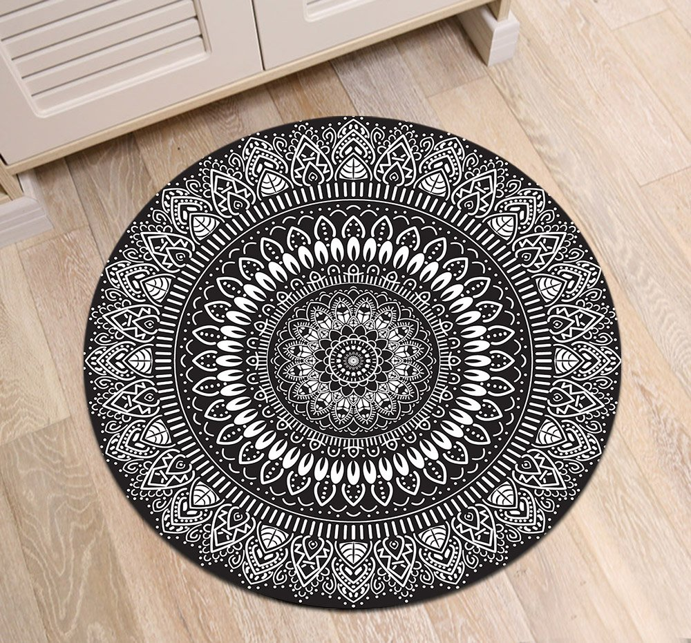 Round Rag Rug Black And White: Black White Round Mandala Area Rug Mat By LB, Indian