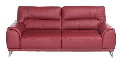 Cotta C928300 D205 Moderner 3-Sitzer weichem Kunstleder, 210 x 96 cm, rot