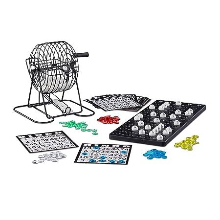 Relaxdays Jeux de société Bingo boulier en métal lotto tombola jeux de hasard chance HxlxP: 20 x 17,5 x 21,5 cm, noir