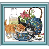Joy Sunday Stamped Cross Stitch Starter Kits Beginners Cross-Stitching Accurate Pre-printed Pattern - Curious Cat 11CT 15''x14'', Frameless (Tamaño: 11CT picture printed)