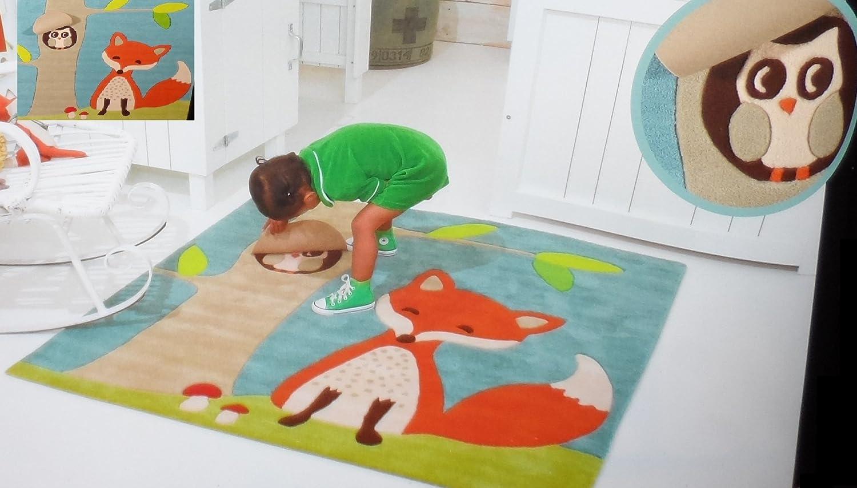 Teppich Kinderteppich Kinder Spielteppich Fuchs Wald mit