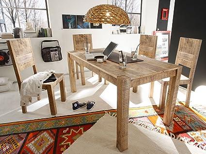 Massivum Chennai Set Esstisch plus 6 Stuhle Mango, Holz, natur, 80 x 160 x 76 cm