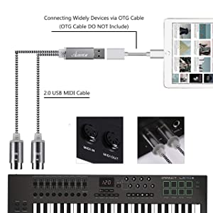 MIDI to USB Cable MIDI Interface Converter with LED Indicator Light and FTP Processing Chip for Electric Keyboard Piano to PC Mac Laptop 5-PIN DIN MID