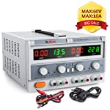 Dr.meter HY3005F-3 Triple Linear DC Power Supply, 30V, 5 Amp, Input voltage 104-127V, Alligator to Banana and AC Power Cable Included (Color: HY3005F-3, Tamaño: HY3005F-3)