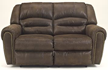 Ashley McNeil Leather Reclining Power Loveseat in Java