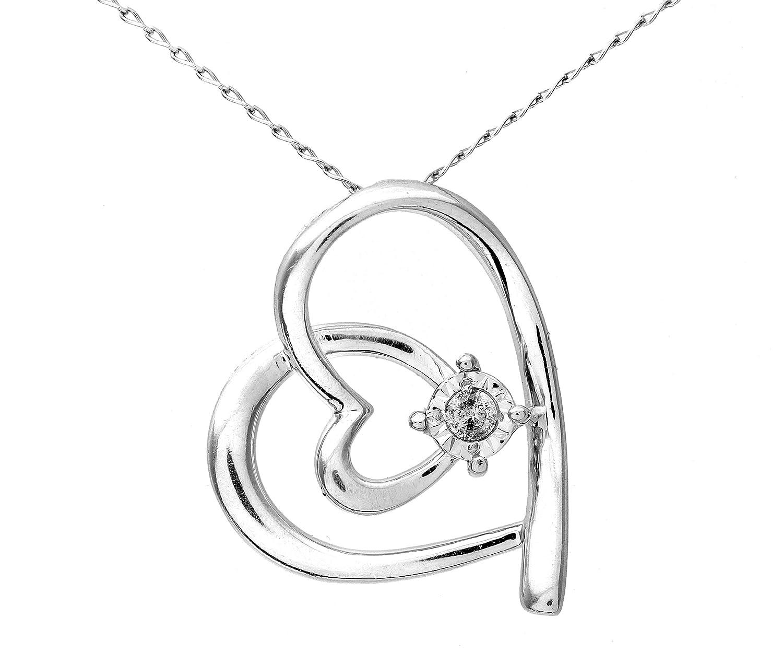 Funkelndes Feuer Süßer 925 Sterling Silber Herz Diamant Anhänger + Kette Brillant-Schliff 0.05 Karat I-I1 – 16mm*18mm bestellen