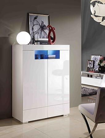 Highboard Kommode Weiß Wohnzimmer Schlafzimmer Modern LED Hochglanz Elegant