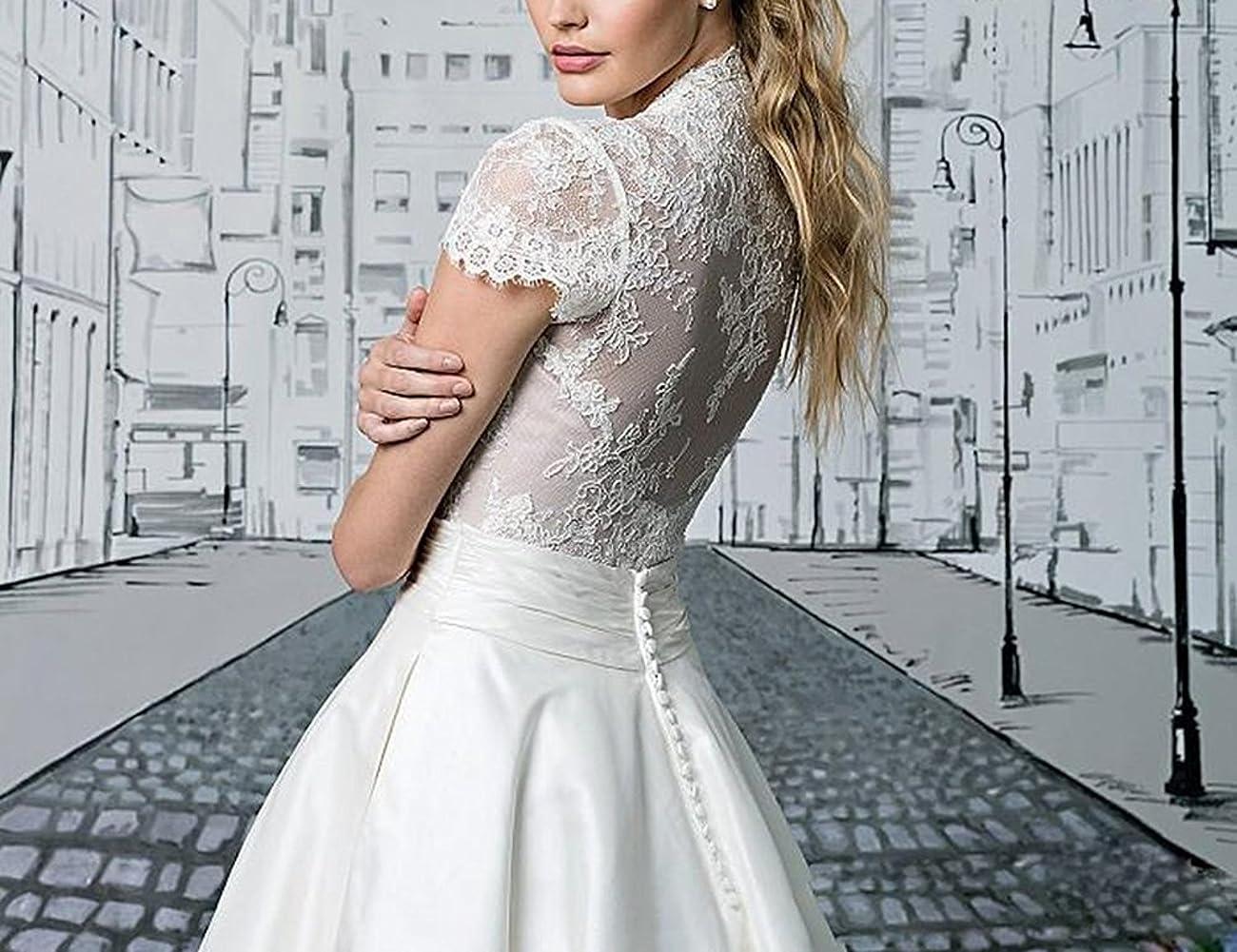 Fashionbride Women's Lace Tea Length A Line Vintage Wedding Dress Bridal Gown F364 3