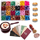 ZEELI Wax Seal Set, 600 Pcs Octagon Sealing Wax Beads with 1 Pcs Melting Furnace, 1 Pcs Tree of Life Stamp,10 Pcs High-Grade Vintage Envelope, 4 Pcs Tea Candles and 1 Pcs Wax Melting Spoon (Color: 24 Colors)