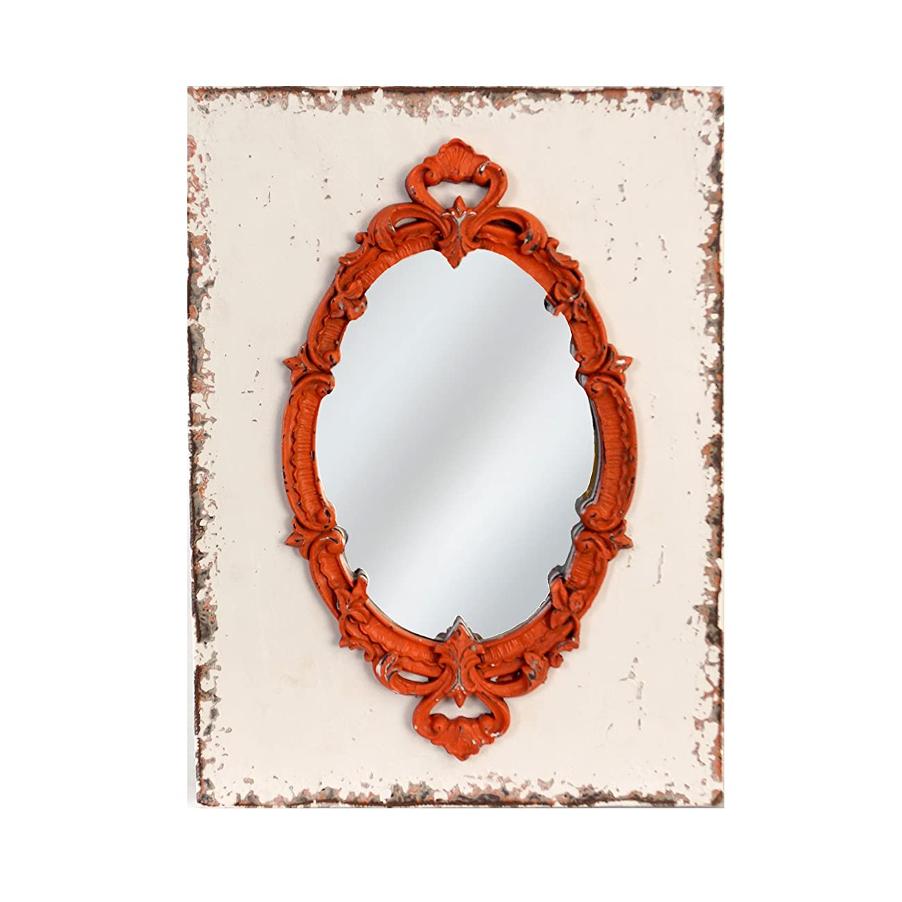 American Mercantile Wood Framed Mirror, Red 0