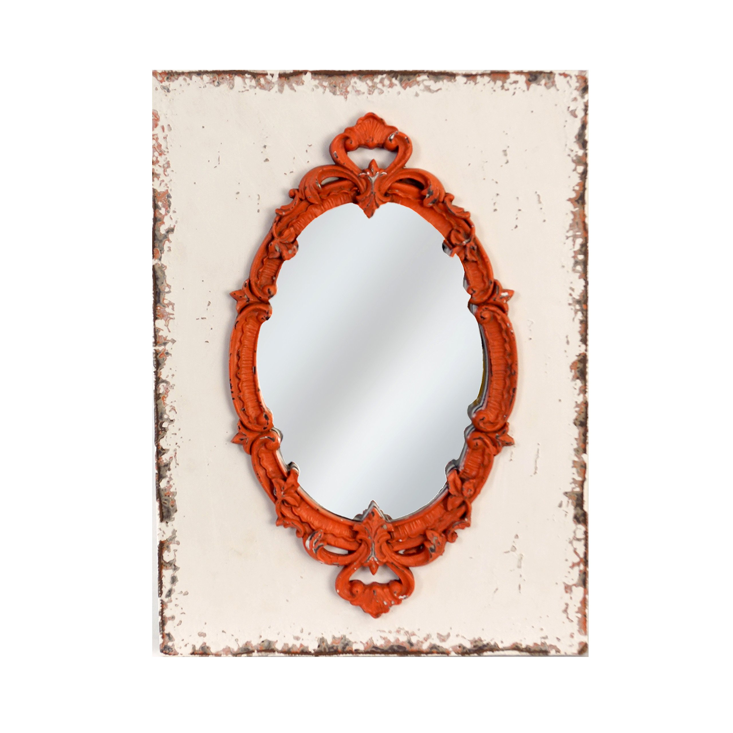 American Mercantile Wood Framed Mirror Red