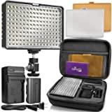 Altura Photo 160 LED Video Light for DSLR Camera and Camcorder Complete Kit - Ultra Bright Dimmable with Battery, Charger, Filters, and Carry Case (Canon, Nikon, Panasonic, Sony, Samsung, Olympus) (Tamaño: LED Video Light)