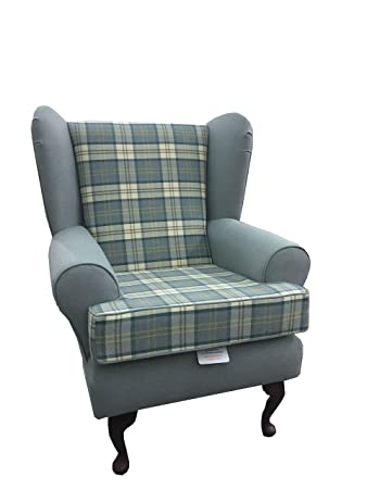 Teal Tartan 2 Tone Fabric Queen Anne...wing back fireside high back chair. Ideal bedroom or living room furniture