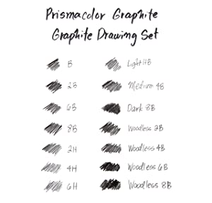 Prismacolor 24261 Premier Graphite Drawing Pencils with Erasers & Sharpeners, 18-Piece Set (Color: BLACK, Tamaño: 18-Piece Set)