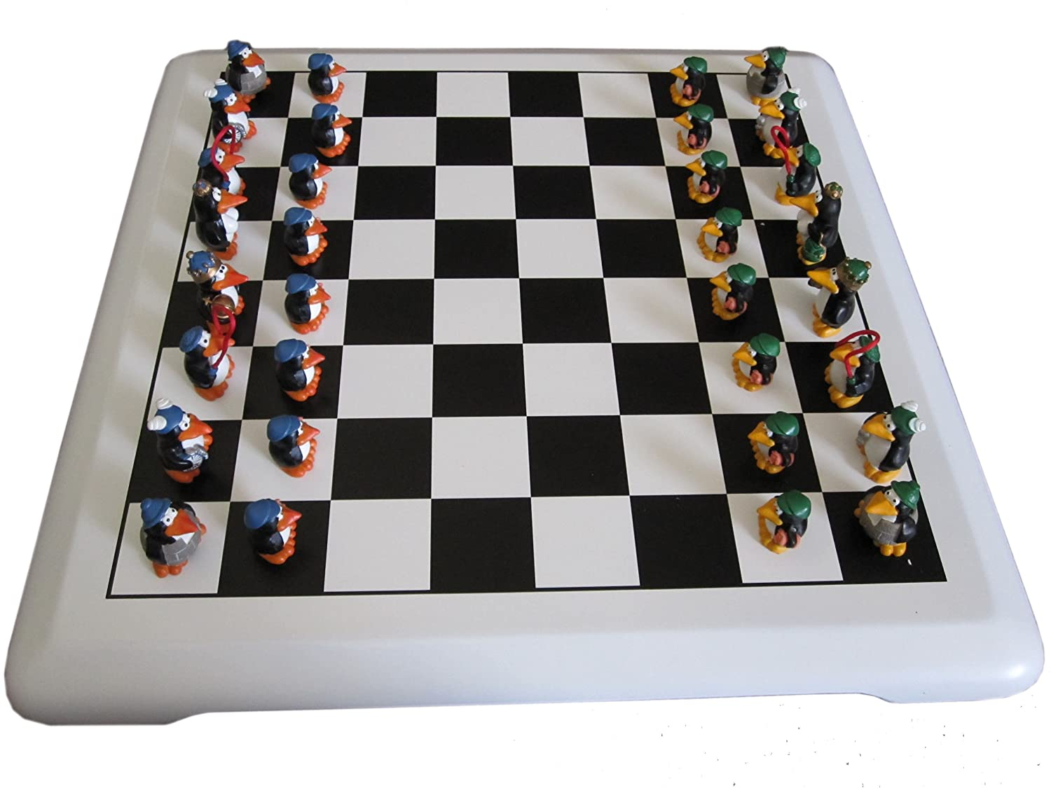 Wooden Chess Set in Black and White Penguin Theme