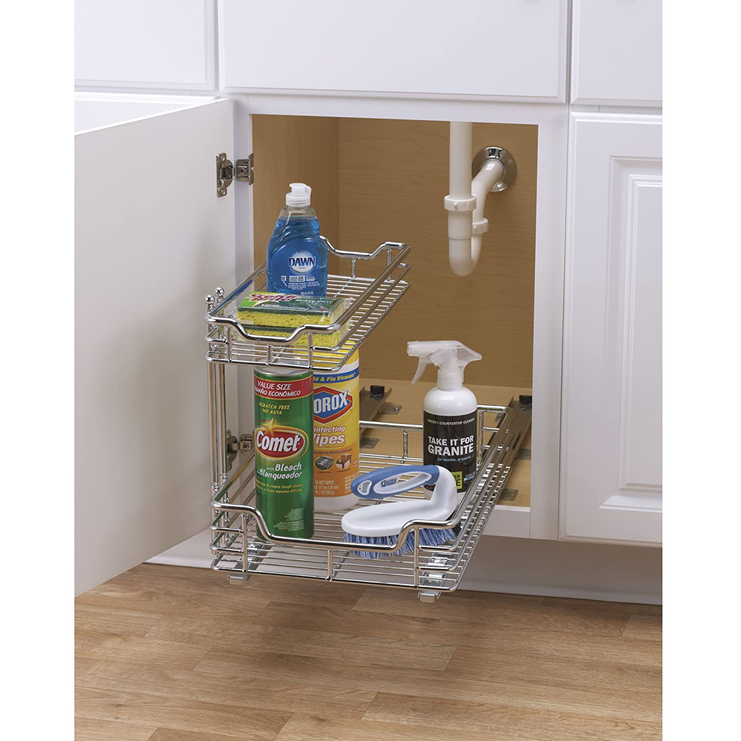 under sink storage basket cabinet sliding drawer organizer bathroom