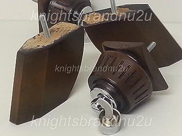 4 x marrón antiguo muebles de madera piernas/pies con ruedas de cromo, sofás y sillas, sofás, M8 (8 mm)