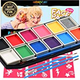 Face Paint Kit For Kids - Paints Over 100 Faces, Professional Award Winning Face Painting Set safe for Sensitive Skin - 12 large Washable Non-Toxic Face Paints, 30 Stencils, 3 Brushes, FDA Approved (Color: Multicolor)