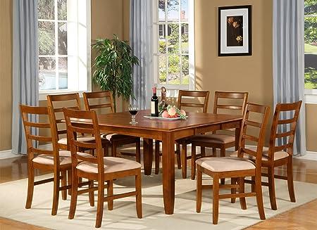 East West Furniture PARF7-SBR-C 7-Piece Dining Room Table Set