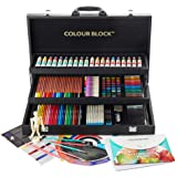 COLOUR BLOCK Premium 181 Piece All Media Art Set in Durable PU hinged case, with Soft & Oil Pastels, Acrylic & Watercolor Paints, Watercolor, Sketching, Charcoal & Colored Pencils and Art Tools (Tamaño: 181 pc All Media PU Box Set)