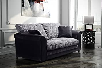 Bailey Sofa Range. Formal Back Sofa Cushions. Sprung base (3 SEATER, BLACK/GREY)