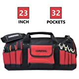 DURATOOL 23-inch Heavy Duty Large Tool Bag with 32 Pockets Adjustable Strap Wide Mouth Waterproof Base Tools Bag Organizer for Construction Mechanic Electrician Tool Bags and Pouches for Men and Women (Color: Black and Red, Tamaño: 23-inch)