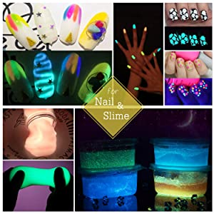 Glow In The Dark Pigment Powder with UV Lamp - 0.7oz Each Slime Luminous powder for Slime Kit,Epoxy Resin - Skin Safe Long Lasting Self Glowing Dye for Nail Art, Acrylic Paint, Fine Art and DIY Crafts