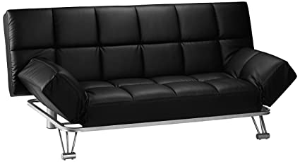 Julian Bowen Manhattan Faux Leather Sofa Bed, Black