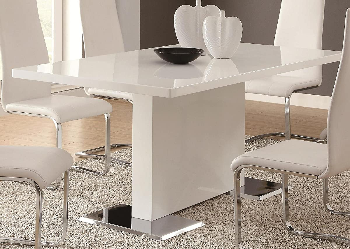 Coaster Home Furnishings Glossy White Contemporary Dining Table, 63 x 35.5 x 30 Inch
