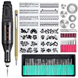 Uolor 70 Pcs Engraving Tool Kit, Multi-Functional Electric Corded Engraver Pen DIY Rotary Tool for Jewelry Metal Glass Ceramic Wood Plastic with Scriber, 52 Accessories and 16 Stencils (Tamaño: 70Pcs)
